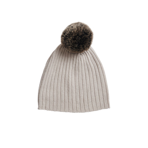 Fur Pompom Hat in Alabaster