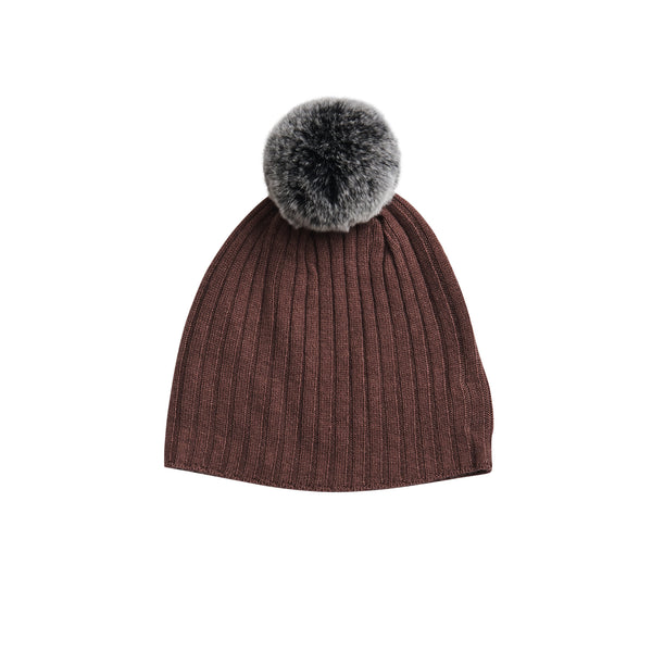 Fur Pompom Hat in Berry