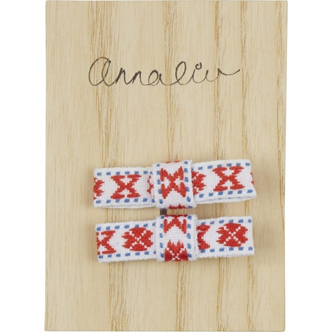 Hair Bow Set in White and Coral - Annaliv