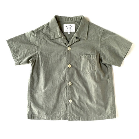 Open Collar Short Sleeve Shirt in Grey