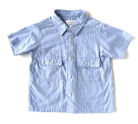 Short Sleeve Patch Pocket Shirt in Light Blue
