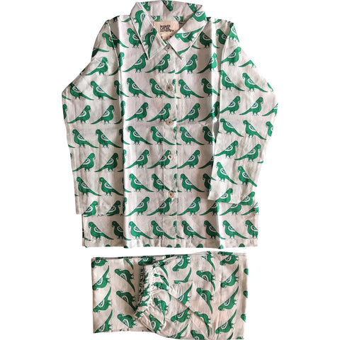 Pajama in Green Bird Print