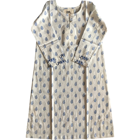Nightie in Blue Palm Print