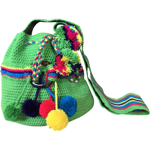 Girl's Wayuu Handcrafted Green Mochila