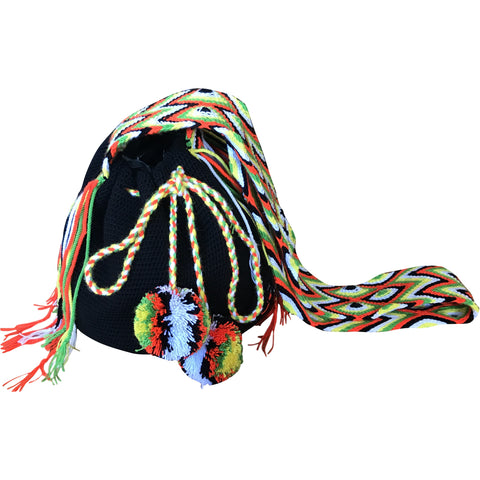 Women's Wayuu Handcrafted Black & Orange Mochila