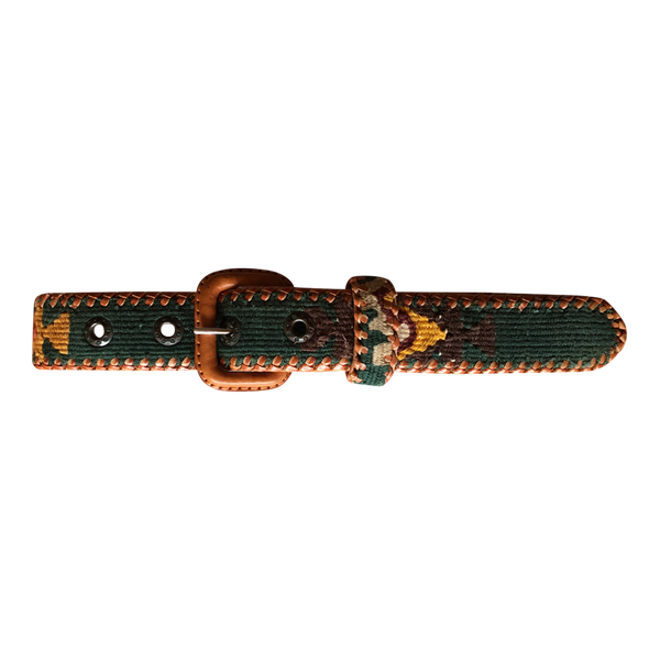 Woven Leather Belt in Green