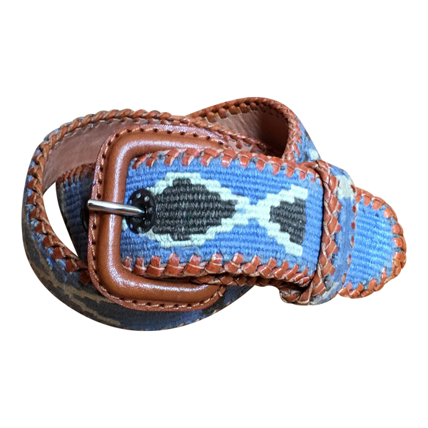 Woven Leather Belt in Blue