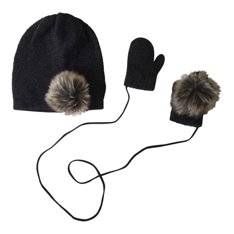 Pom Pom Hat & Mittens Set in Dark Grey