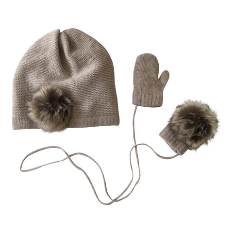 Pom Pom Hat & Mittens Set in Beige