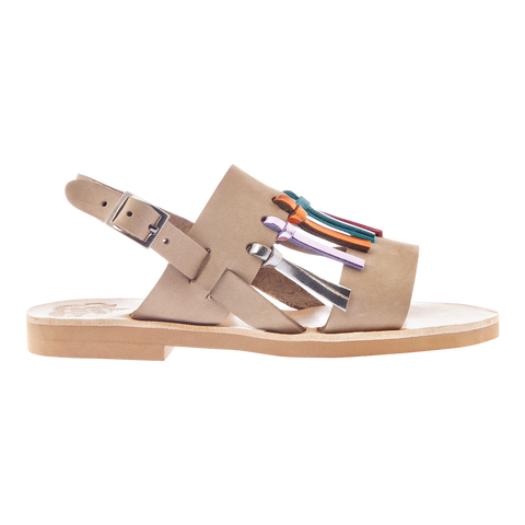 Patmos Sandals in Taupe with Metallic Fringes