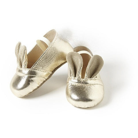 Bunny Shoes in Gold Leather