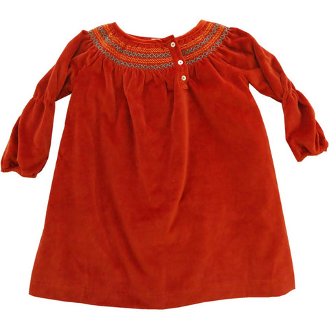 Velvet Orange Embroidered Dress
