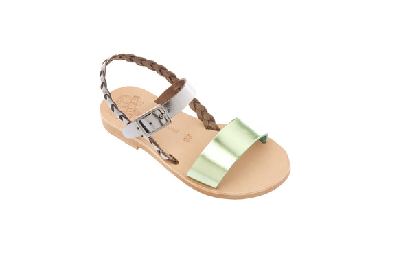 Symi Sandals in Silver and Metallic Pistachio