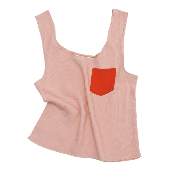 Crepe Tank Top in Pink - Paade Mode