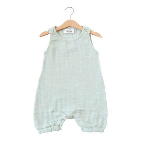 Kiko Muslin Romper in Green Cloud