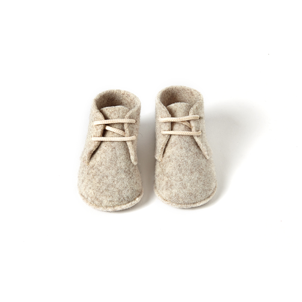 Joe Boiled Wool Booties in Beige - Sonatina | niko+ava