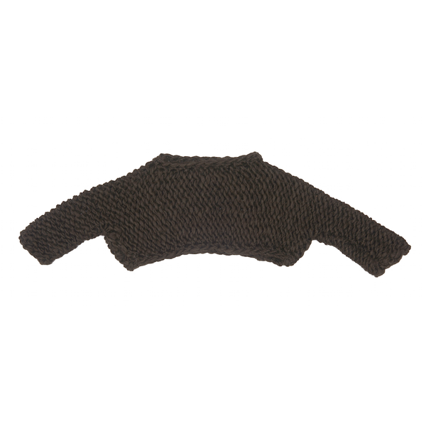 Handknit Cropped Pebbles Sweater in Dark Brown - Paade Mode