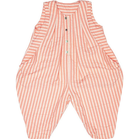 Overall Ola Seersucker in Peach