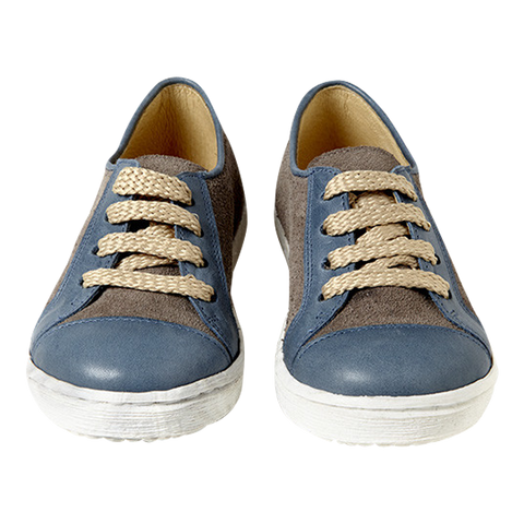 Women's Sunny Sneaker in Blue and Grey Leather