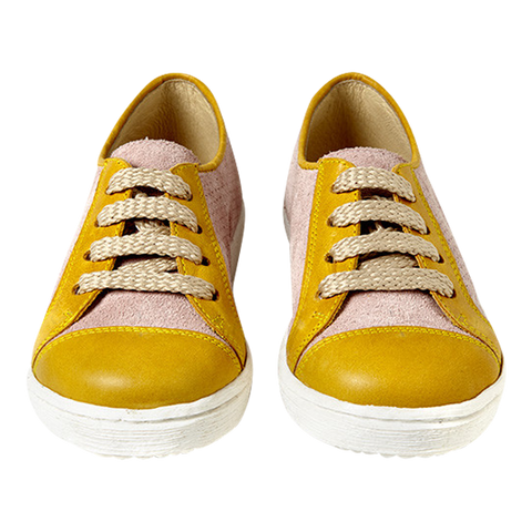 Women's Sunny Sneaker in Pink and Mustard Leather