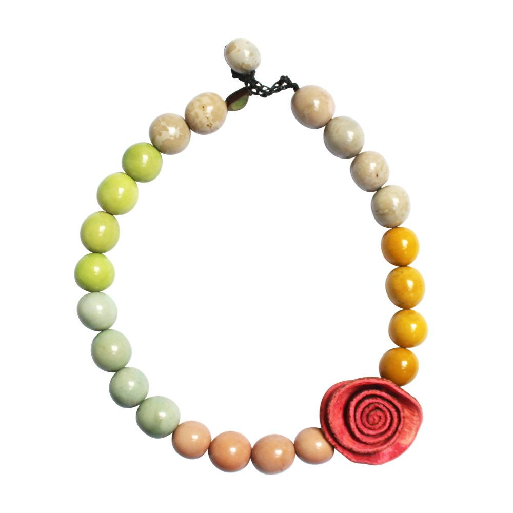 1 Rose Color Block Necklace - Tagua and Bombona Seeds-Multicolor- 1 Coral Rose