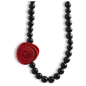 Single Rose Choker - Red-Black - Amano Artisans