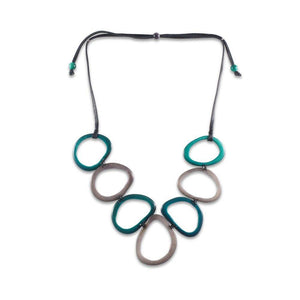 Calamar Tagua Nut Necklace - Teal