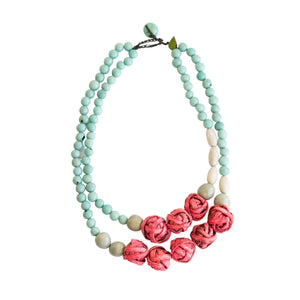Orange Peel Aros Double Necklace Coral & SkyBlue