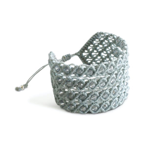 Filare Macrame Cuff Adjustable Cuff Bracelet with Murano beads- Grey