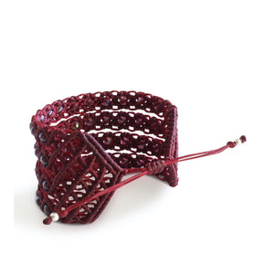 Filare Macrame Cuff Adjustable Cuff Bracelet with Murano beads back - Burgundy