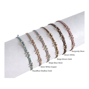 Flower Silver Egyptian Loom Handwoven Bracelet