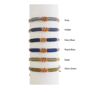 Macrame Knot Leather Men's Bracelet - Amano Artisans