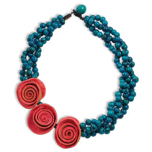 Three Rose Braided Necklace - Red Turquoise