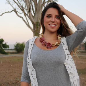 Three Rose Braided Necklace - On Model