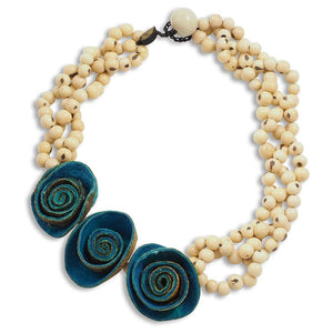 Three Rose Braided Necklace - Turquoise-Natural