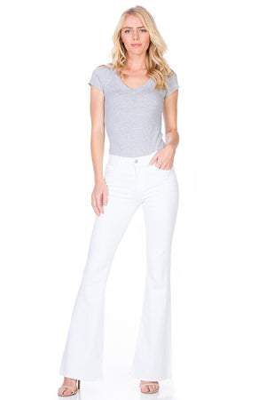 Just Float On Flare Jeans-White Denim