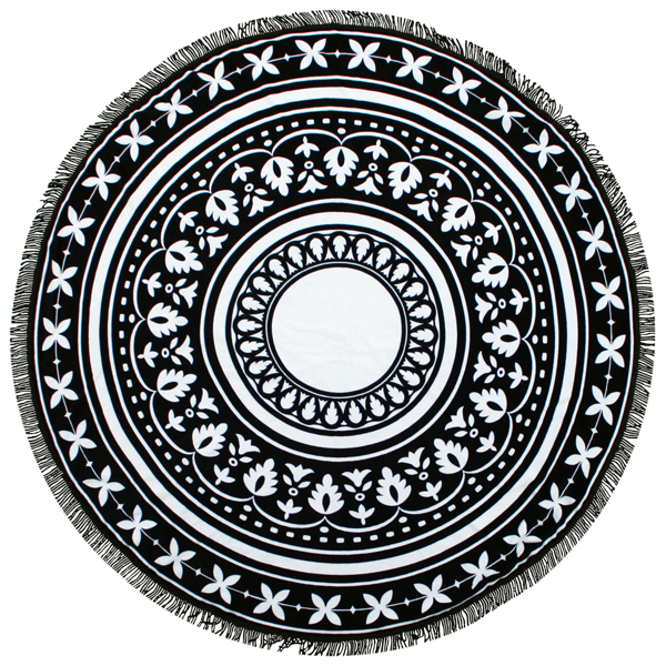Round black and white decorative printed beach towel with black fringe