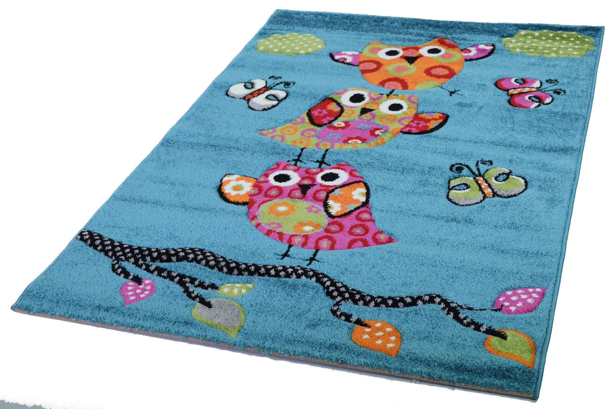 Kids Owl On A Tree Rug   Blue   AHOC LTD   1 ...