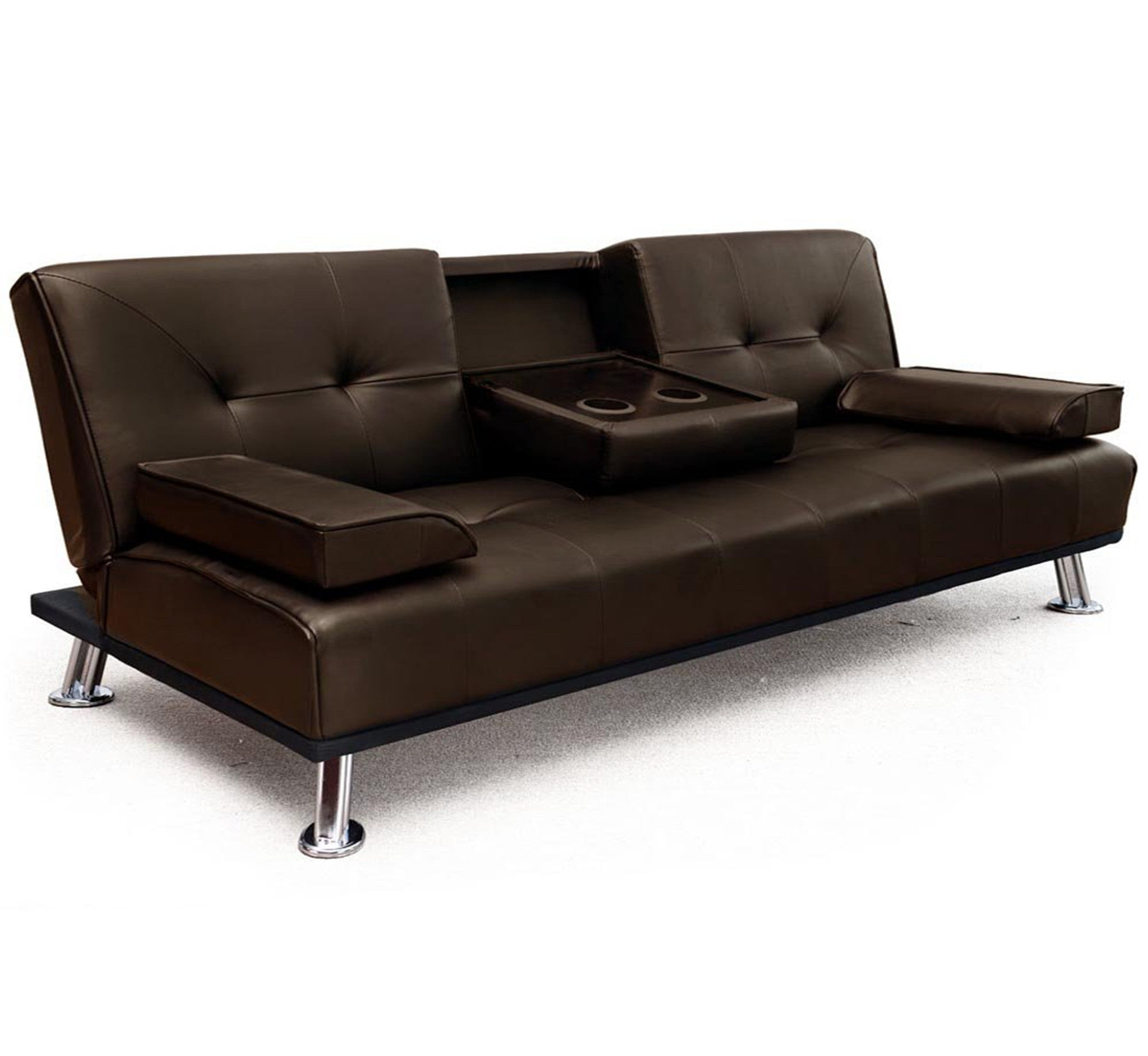 3 Seater Faux Leather Sofa Bed Fold Down Table Brown Hdaf