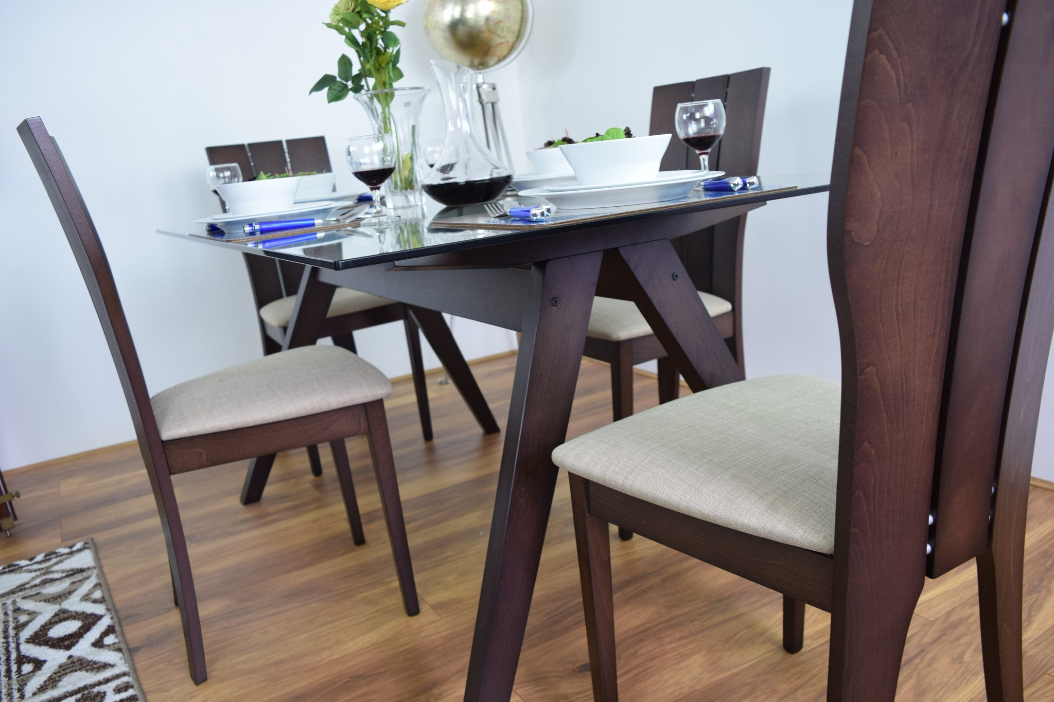 Glass & Wood Dining Table And 4 Chairs