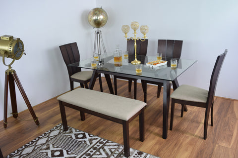 Dubai Glass Wood Dining Table Bench And 4 Chairs Set