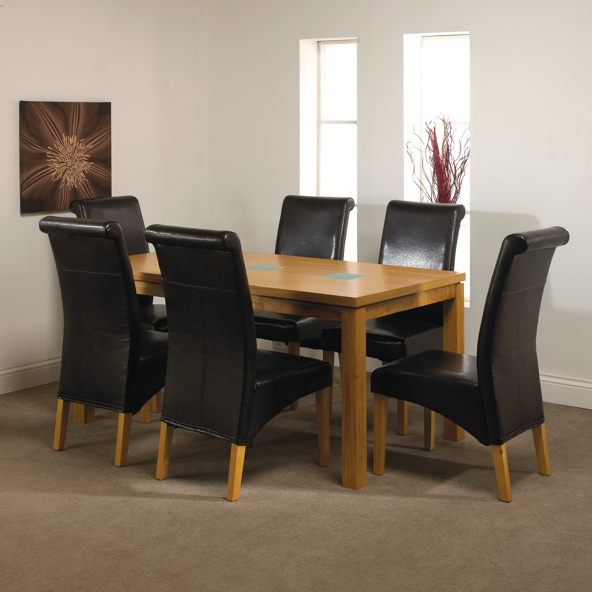 Glass Oak Dining Table 4 Parson Red Chairs AHOC LTD