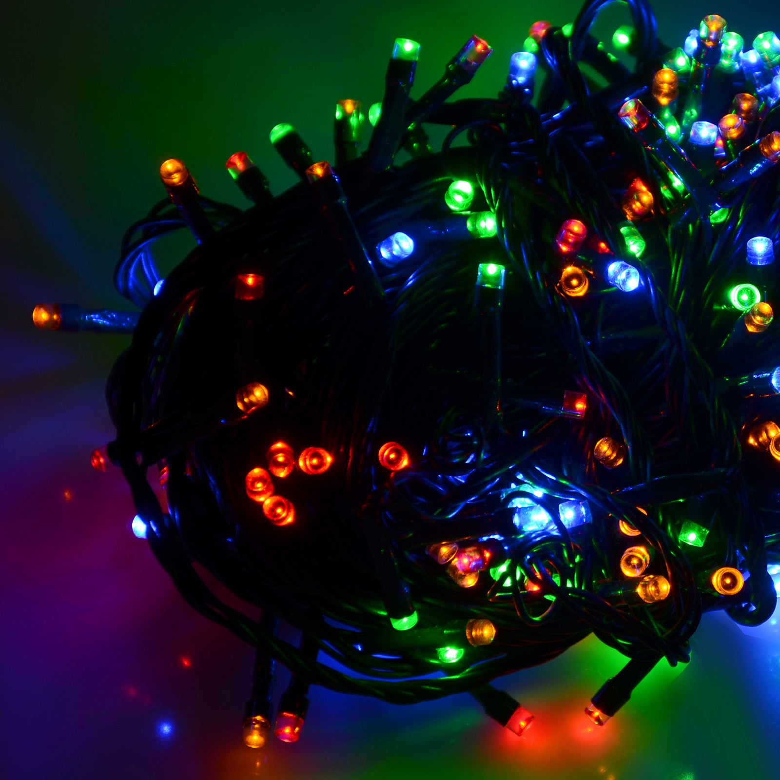 100 led christmas chaser timer light multi colour
