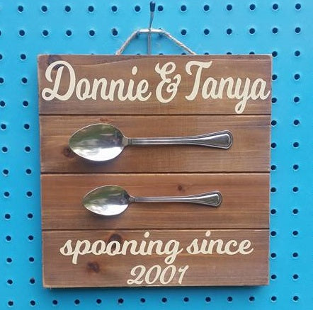 """Spooning"" Wood Sign"