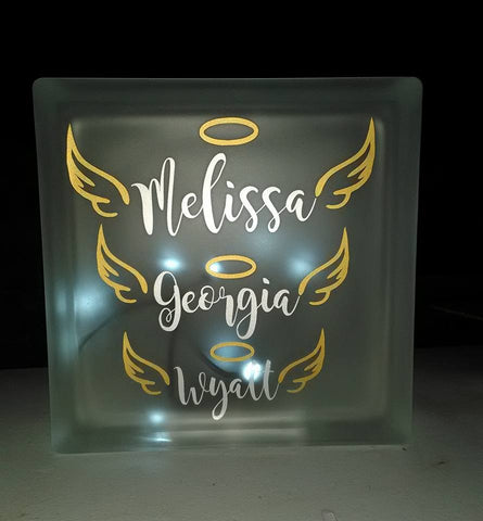 Personalized Angel Wings & Halo Frosted Glass Memorial Block