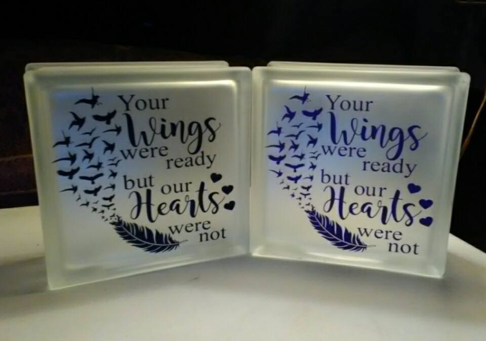 "Purple ""Your Wings Were Ready..."" Frosted Glass Memorial Block"