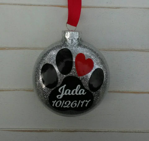 Dog or Cat Personalized Memorial Glass Ornament