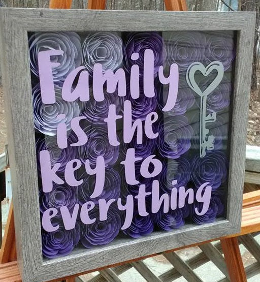 """Family is the Key to Everything"" Purple Ombre Shadow Box"