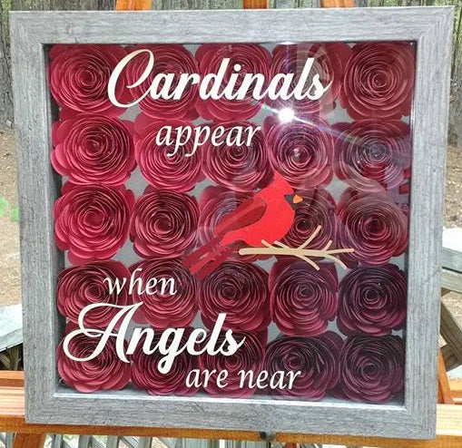 """Cardinals Appear when Angels are Near"" Red Ombre Memorial Shadow Box"