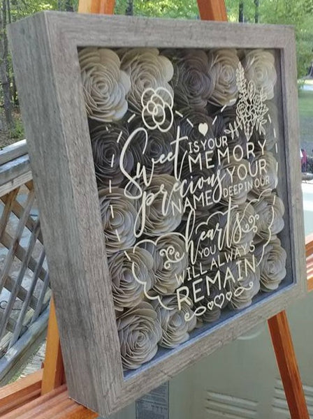 """Sweet is Your Memory..."" Cross Memorial Shadow Box"